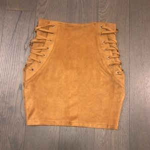 Naked Wardrobe Suede Camel Skirt
